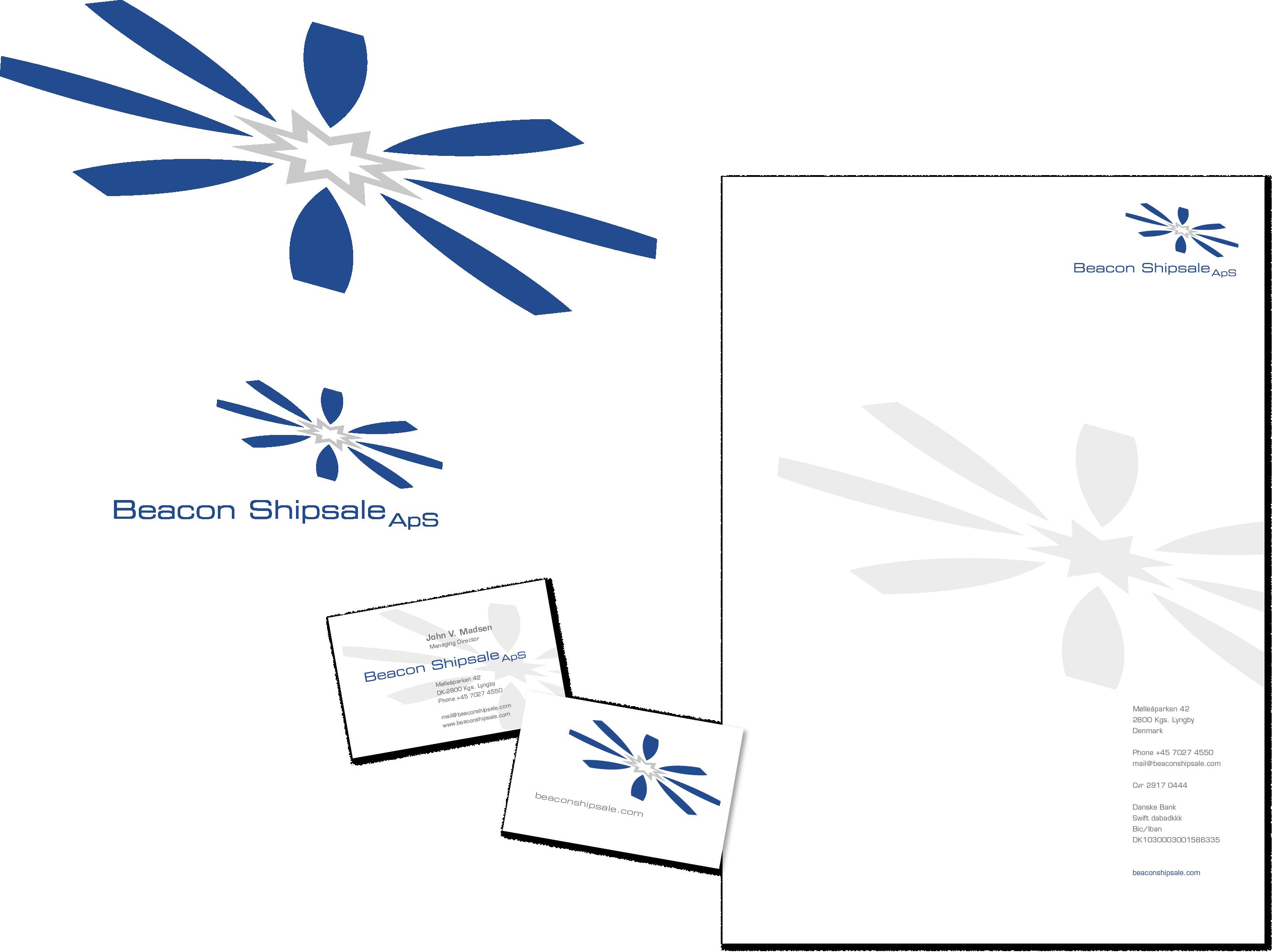 Logo, visitkort og brevpapir til Beacon Shipsale